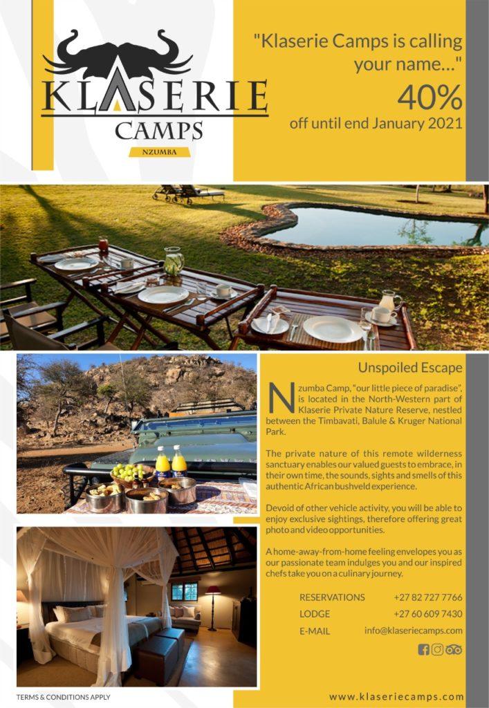 Klaserie Camps Nzumba Kruger Luxury Safari Newsletter Blog Black Friday Deals